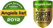Angie's List Super Service Award for Secure Restoration's water damage restoration, fire damage restoration, and mold remediation services in Stuart (2012-2013)