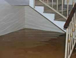 sewage cleanup in a flooded home.
